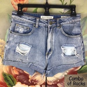 Bullhead Destroyed Distress Mom Denim Jean Shorts
